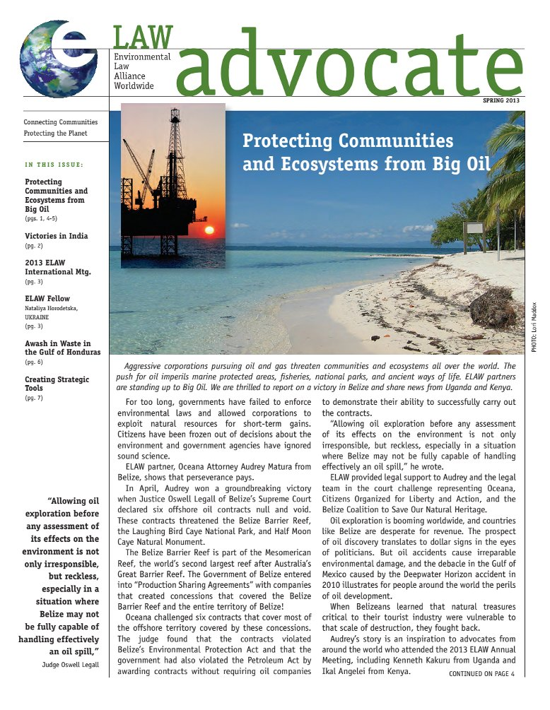 Protecting Communities and Ecosystems from Big Oil, Spring 2013