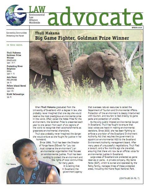 Spring, 2010: Thuli Makama: Big Game Fighter, Goldman Prize Winner
