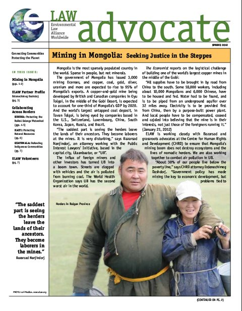 ELAW Advocate: Mining in Mongolia: Seeking Justice in the Steppes