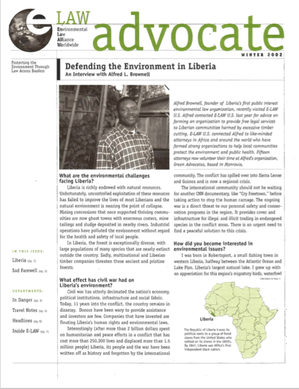 Defending the Environment in Liberia, Winter 2002